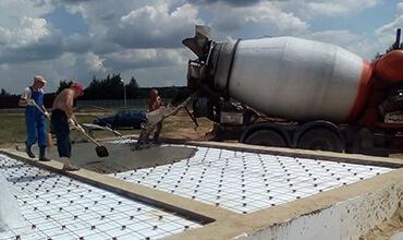 Заливка бетоном плиты пола