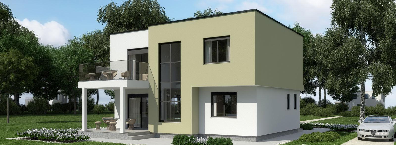 Загородный Дом в стиле хай-тек с плоской крышей