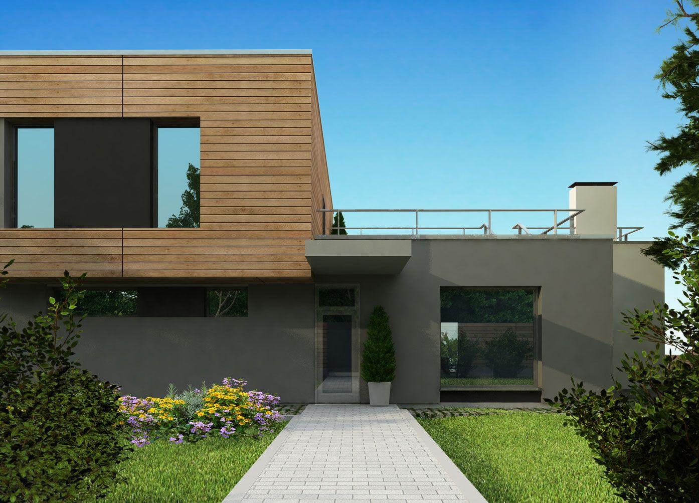 Проект дома в стиле хай-тек с плоской крышей