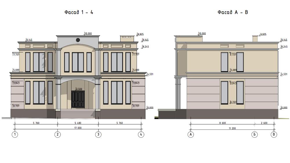 Проектирование загородного дома. Фасад 1-4
