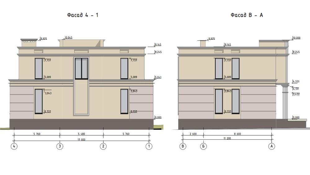 Проектирование загородного дома. Фасад 4-1